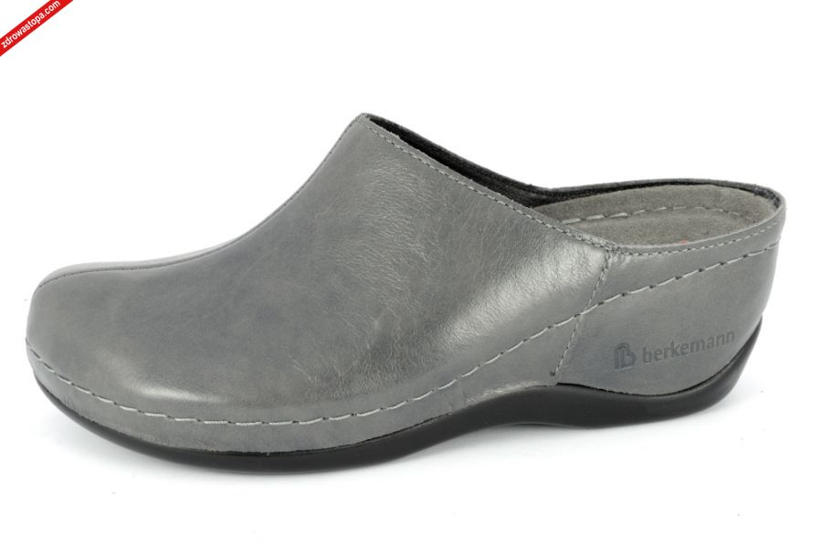 c0295b97 Typ: klapki damskie BERKOFLEX Kolor: szary - grau Leder Materiał wierzchni:  skóra cielęca- leather. Wnętrze buta: skóra/materiał obuwniczy. Tęgość: H